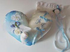 coussin alliance (786) coeur bleu ciel colombes