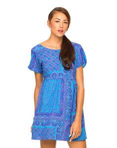 Motel Patience Babydoll Dress in Scarf Blue