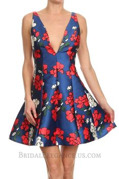 $33.00 | Plunging Royal Floral Print Dress 224058 | B.E. Boutique | Bridal Elegance
