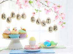 Happy Easter - lovely, decorations, cupcakes, food, cupcake, easter, beautiful, softness, pastel, easter eggs, eggs, happy easter