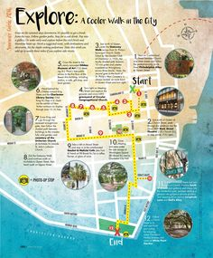 USA Travel Inspiration - A cooler walk in the city map, Charleston, SC