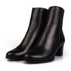 Botine elegante cu toc din piele naturala Leofex - 568-1 Negru Box Rubber Rain Boots, Box, Shoes, Fashion, Moda, Snare Drum, Zapatos, Shoes Outlet, Fashion Styles
