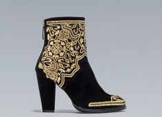 Gold Embroidered High-Heel Ankle Boot from Zara <3