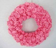 Crepe Paper Rose Wreath & other projects - I made one of these for a baby shower & it was lovely!