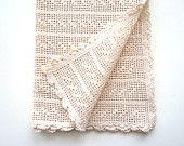 Runner beige vintage fatto ad uncinetto, centro tavola rettangolare, cotone cm. 38 x 86
