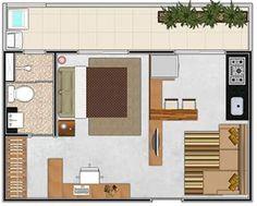 Planos de casas modernas de 1 dormitorio