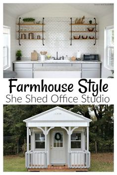 I transformed an unfinished tiny house cabin into my dream Farmhouse Style She Shed Office Studio. Electricity, hot water, cabinets, flooring, and faux shiplap all came together to make the perfect detached food photography studio office space. Photography Office, Home Studio Photography, Food Photography, Photography Accessories, Photography Tattoos, Photography Reflector, Museum Photography, Photography Outfits, Photography Composition