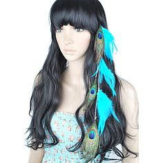 1 Pcs Clip In Peacock Feather Hair Extensions – USD $ 5.99