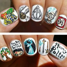 Harry Potter Nail Art Ideas That Are Pure Magic - Trend Nails Models Harry Potter Nail Art, Harry Potter Nails Designs, Images Harry Potter, Harry Potter Theme, Harry Potter Love, Harry Potter Fandom, Us Nails, Cool Nail Art, Pretty Nails