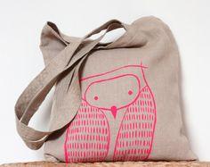 Neon Pink Owl Tote Bag - Natural Linen Owl Tote Bag