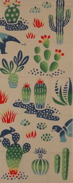 Tenugui Japanese Fabric 'Cactuses and Critters' by kyotocollection, $16.00