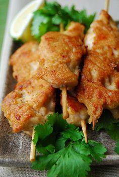 chicken satay skewers.