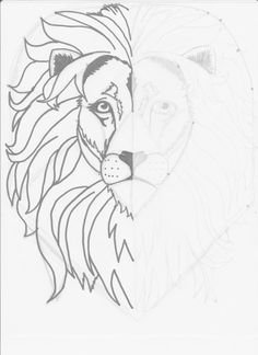 Mirror Image Lion Drawing: Week Two, Classical Conversations - Mirror Ideas Art Drawings Sketches, Easy Drawings, Animal Drawings, Pencil Drawings, Lion Head Drawing, Lion Drawing Simple, Lion Painting, Painting & Drawing, Image Lion