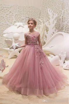 474920b00341 Lovely Pink Lace Flower Girl Dresses Girls Pageant Gowns with Sheer Neck  Appliques Tulle Kids Birthday