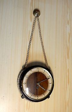 Vtg. RARE wooden midcentury rope nautic hanging wind-up clock watch EMES Germany