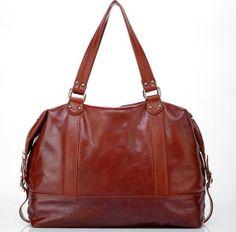 Large brown genuine leather weekender tote by sommervillestudio, $100.00