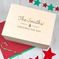 Personalized Large Christmas Eve Box Crate - Personalised Wooden Christmas Box - Xmas Eve Boxes for Children Kids Family Ideas Wooden Christmas Eve Box, Personalised Christmas Eve Box, Personalised Box, Christmas Hamper, Christmas Drinks, Family Christmas, Christmas Themes, Christmas Crafts, Christmas 2017