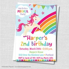 Rainbow Unicorn Birthday Party Invitation - Unicorn Themed Party - Digital Design and Printed Invitations - FREE SHIPPING
