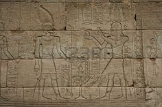 Egyptian ancient stone relief of a temple
