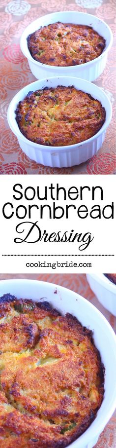 Traditional cornbread dressing recipe from a Southern grandma. No #Thanksgiving spread would be complete without this side dish that includes celery, onions, hardboiled eggs, cornbread, and shredded chicken. CookingBride.com