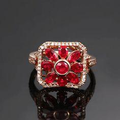 vayana Bague en or Rose Rubis Diamant