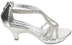 16fe347bf88  hot JJF Shoes A36 Silver Classy Rhinestone Angle Strap Evening Dress Low  Heel Sandals-