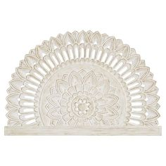 Bring some global style to your space with this Mandala Carved Faux Headboard. Featuring an intricate design and a White Wash finish, it's an easy way to add visual interest to your space. Cute Dorm Rooms, Cool Rooms, Faux Headboard, Bohemian Headboard, Cool Headboards, Wood Carved Headboard, White Headboard, Bohemian Bedrooms, Eclectic Bedrooms
