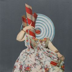 Queen Rose Bonbon I, Paper and acrylic paint collage on canvas, 30 x 30 cm On show in Puget sur Argens, France