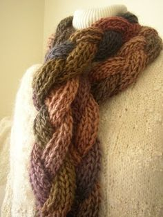 Braided crochet scarf - this is made of three long, thin strips plaited together. A great way to make a simple pattern look fantastic.