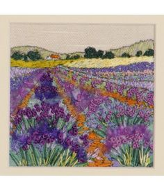 Lavender Fields by Rowandean Embroidery… Free Machine Embroidery, Embroidery Needles, Embroidery Applique, Cross Stitch Embroidery, Embroidery Ideas, Lavender Crafts, Silk Ribbon Embroidery, Handkerchief Embroidery, Creative Embroidery