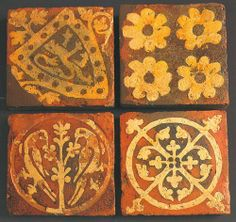 """effervescentaardvark:  Inlaid tiles from Tintern Abbey, dating from the later 13th century.source: """"Builders and Decorators: Medieval Crafte..."""