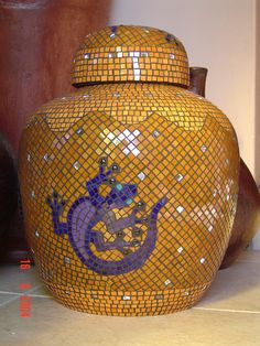 Mosaic pot by Lisa B