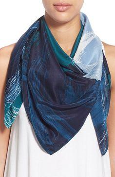 Halogen® Brushstroke Print Square Silk Scarf available at #Nordstrom