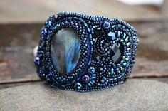 Black Blue Bead Embroidered Labradorite by TaitallasHandmade