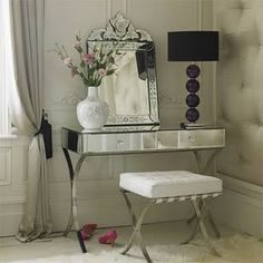 Large Mirror Dressing Table Design home trends design photos, home design picture at Home Design and Home Interior Home Design, Diy Design, Interior Design, Design Ideas, Furniture Vanity, Mirrored Furniture, Mirrored Table, Vanity Decor, Mirrored Dresser