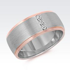 Diamond Wedding Band Rose gold and diamonds give this men's wedding band a dynamic look. Gold Wedding Jewelry, Copper Wedding, Gold Jewelry, Jewellery, Or Rose, Rose Gold, Smart Ring, Diamond Wedding Bands, Diamond Jewelry
