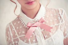 Mesh Shirt with Collar and Bow <3