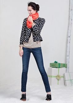 Obsessed with everything about this outfit, especially the Dotted Peplum Blazer