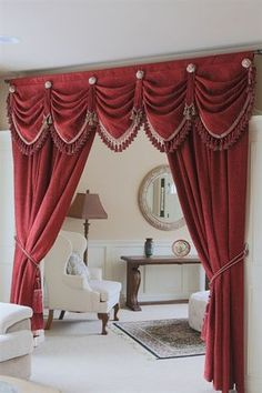 Bedroom Drapes with Valance Elegant ] Customize Curtains Online Swag Valance Valances For Living Room, Living Room Decor Curtains, Bedroom Drapes, Home Curtains, Curtain Valances, Swag Curtains, Cornices, Green Curtains, Decor Room