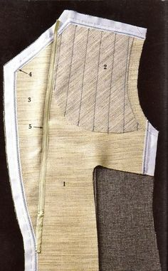 Tailoring (Men's suit jacket front - fashion layer, interlining, canvas layers, and edge tapes, and lapel fall line tape)