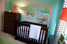 Owl Themed Boy's Nursery  #modern #boy #owl #nursery #orange #aqua #chocolate