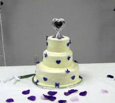Purple Heart and Butterfly Wedding cake