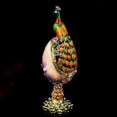 Pauw Accessoire Paars Faberge Rusland Eieren Sieraden Trinket Doos Beeldje Home Display Vintage Paasei Magneet Metalen Ambachten