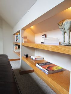 Attic room shelves