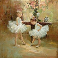 "Купить Картина ""Репетиция"" - бежевый, балерина, балет, балетки, дети, девочки, картина маслом"