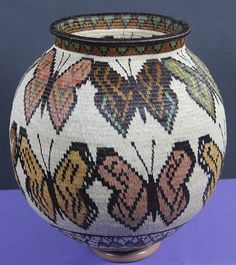 $750 Coiled Butterfly Rainforest Basket, Baskets by  Wounaan