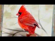 CARDINAL ACRYLIC PAINTING   time-lapse art - YouTube