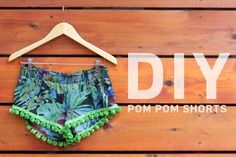DIY pom pom tropical shorts