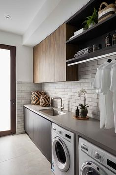Interior and Exterior Designs & Ideas Mudroom Laundry Room, Laundry Room Layouts, Laundry Room Remodel, Laundry Room Organization, Laundry In Bathroom, Laundry Cabinets, Laundry Area, Laundy Room, Modern Laundry Rooms