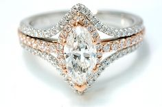 Diamond Engagement Ring  1.12 Carat Marquise with .75 t.w. diamonds set in 14K Rose & White gold  Clarity:  SI1      Color:  F  SKU: 100-01424
